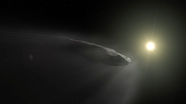 Animation of `Oumuamua outgassing
