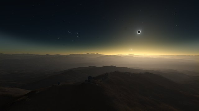 Artist's impression of the 2 July 2019 total solar eclipse