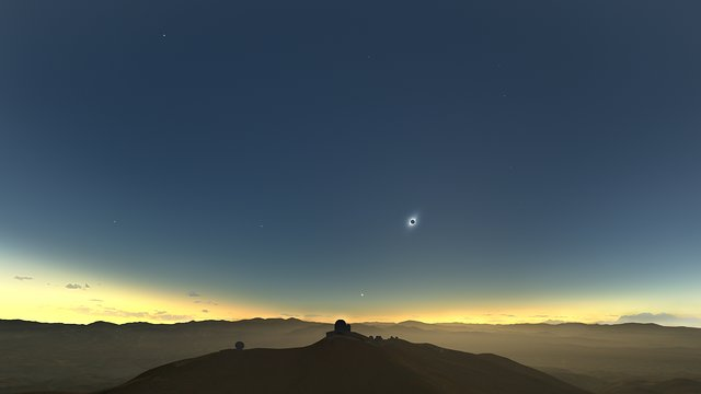 Objects in the sky during the La Silla total solar eclipse (Spanish)