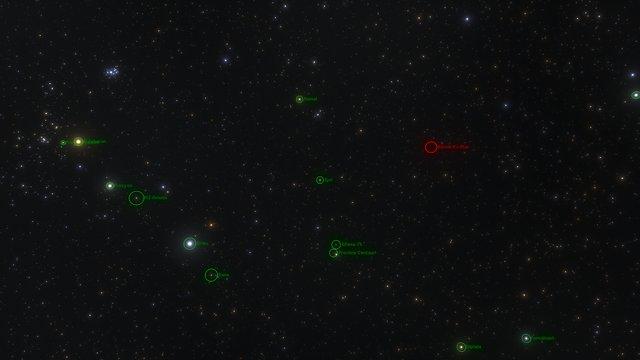 Barnards stjärna i solens omgivning