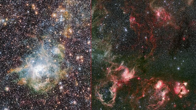 Comparison of the Tarantula nebula in infrared and visible light