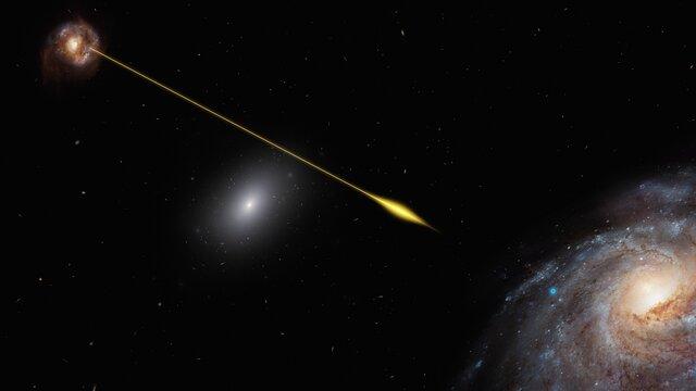 Animación de la señal de FRB 181112 viajando por el espacio