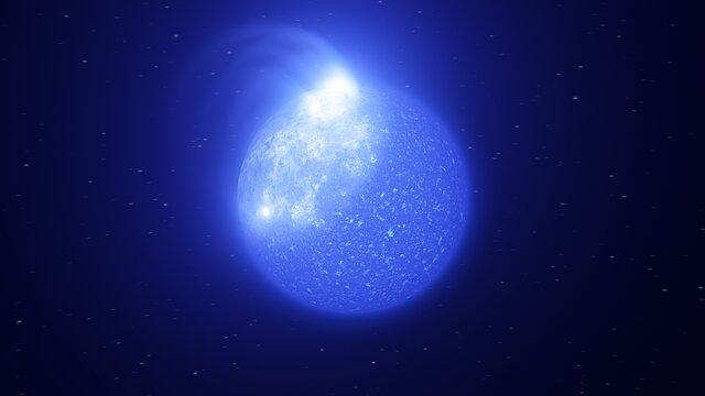 Animation représentant une étoile marquée par une tache magnétique géante