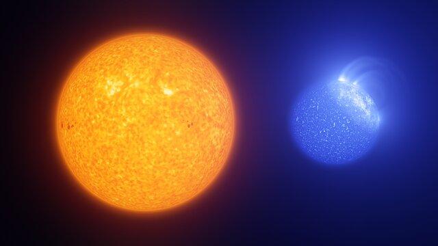 Animación que compara manchas solares con machas de estrellas de rama horizontal extrema.