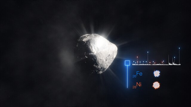 Artist's animation of the heavy metal composition of a cometary atmosphere