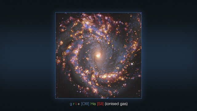 Várias imagens da galáxia NGC 4303 observada com o VLT e o ALMA (anotada)