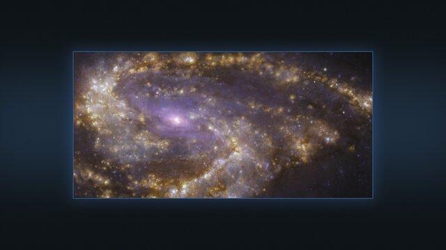Flere visninger av galaksen NGC 3627 sett med VLT og ALMA