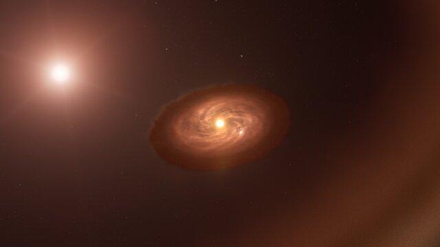 En blick mot en månbildande skiva (ESOcast Light 240)