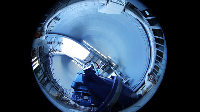 An unusual view of the 3.6-metre telescope
