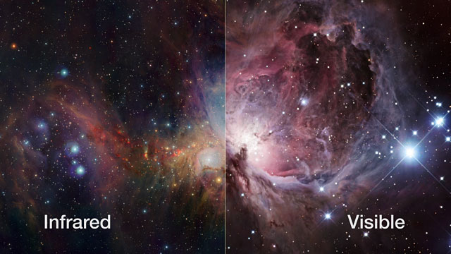 The Orion Nebula seen in infrared and visible light (Europe to the Stars clip)