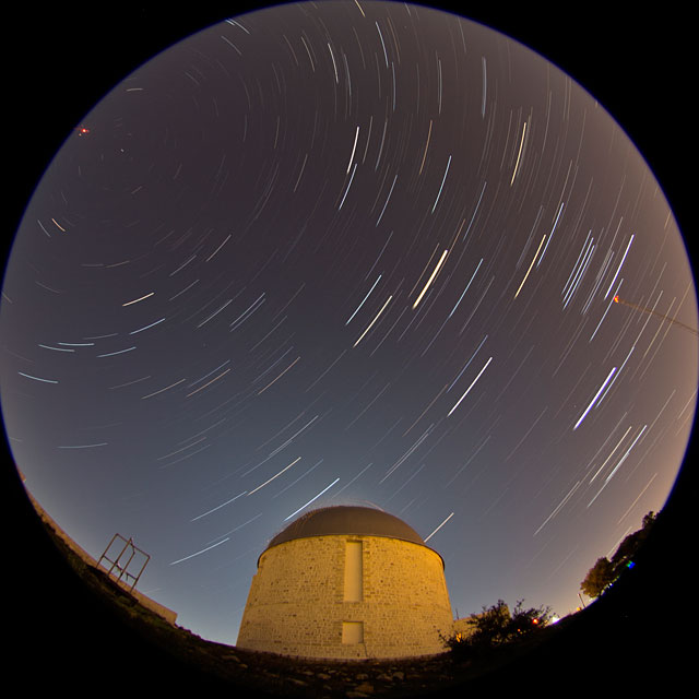 Star and Moon trails in Penteli