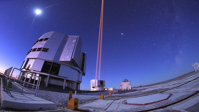 Moon, lasers and the Milky Way