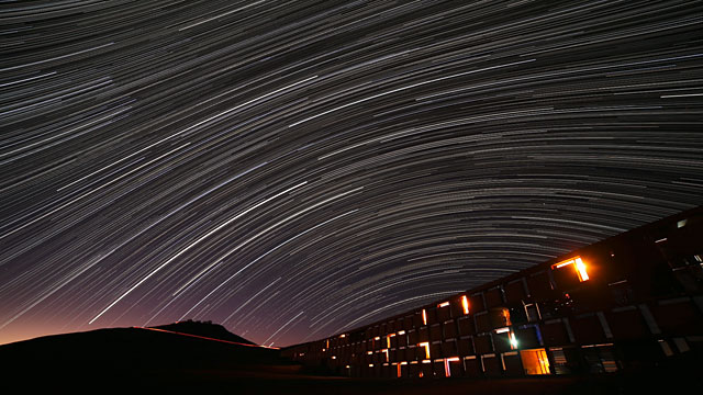 Star trails over the Paranal Residencia