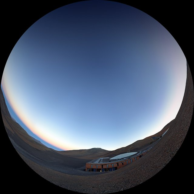 Sunset over the Paranal Residencia (fulldome)
