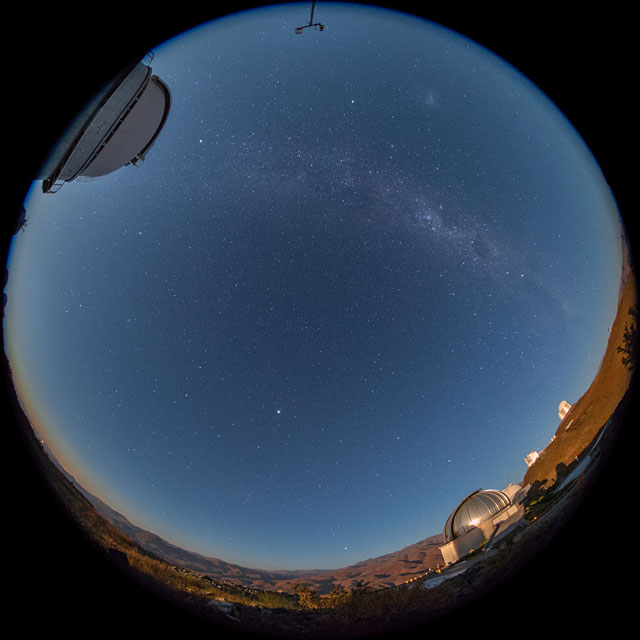 The Moon sets — and the Milky Way rises — over La Silla