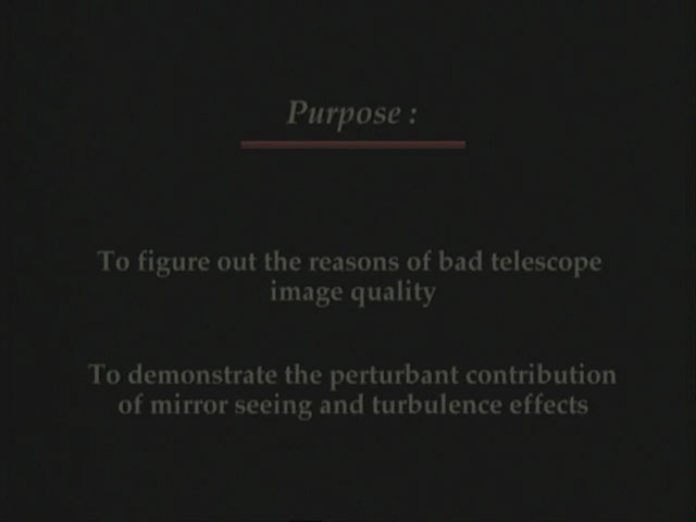 Telescope seeing effects