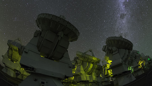 ALMA Japanese antennas at night