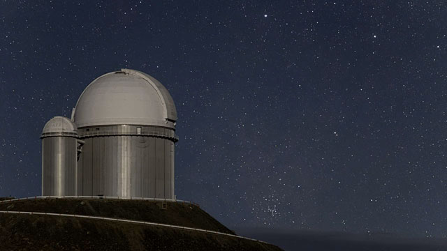 Night view of ESO 3.6-metre telescope